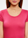 Футболка базовая из хлопка oodji для женщины (розовый), 14701008B/46154/4700N