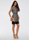 Платье принтованное с плетеным ремнем oodji для женщины (синий), 21900128/35542/7933G