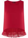 Топ с кружевной отделкой по низу oodji #SECTION_NAME# (красный), 14911012/43414/4501N