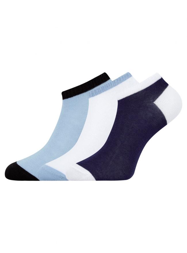 Комплект из трех пар укороченных носков oodji для женщины (разноцветный), 57102433T3/47469/19RVB