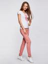 Брюки трикотажные спортивные oodji для женщины (розовый), 16701010B/46980/4A00N