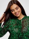 Платье шифоновое с асимметричным низом oodji #SECTION_NAME# (зеленый), 11913032/38375/6B29A - вид 4