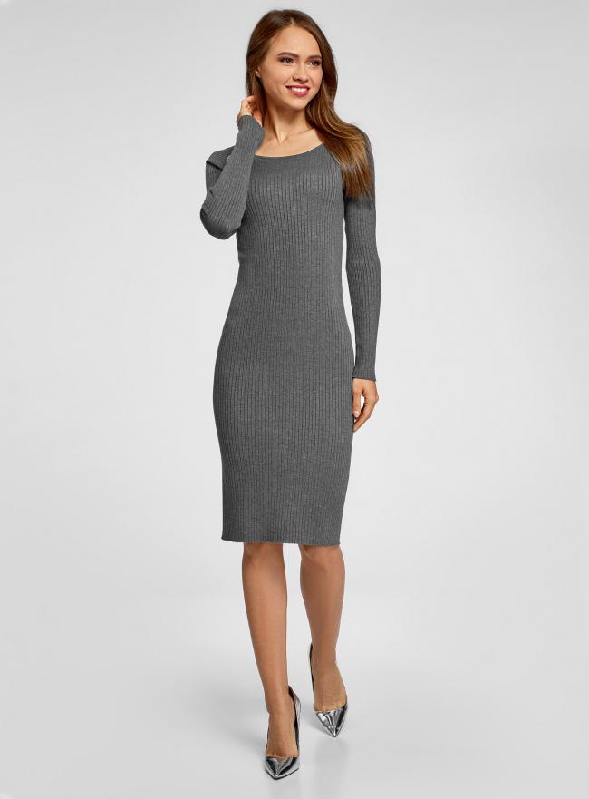 Платье вязаное в рубчик oodji для женщины (серый), 73912207-2B/45755/2501M