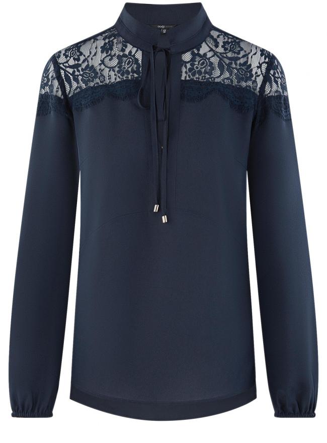 Блузка с кружевными вставками oodji для женщины (синий), 21401400M/31427/7900N