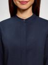 Блузка принтованная из вискозы с воротником-стойкой oodji #SECTION_NAME# (синий), 21411063-1/26346/7900N - вид 4