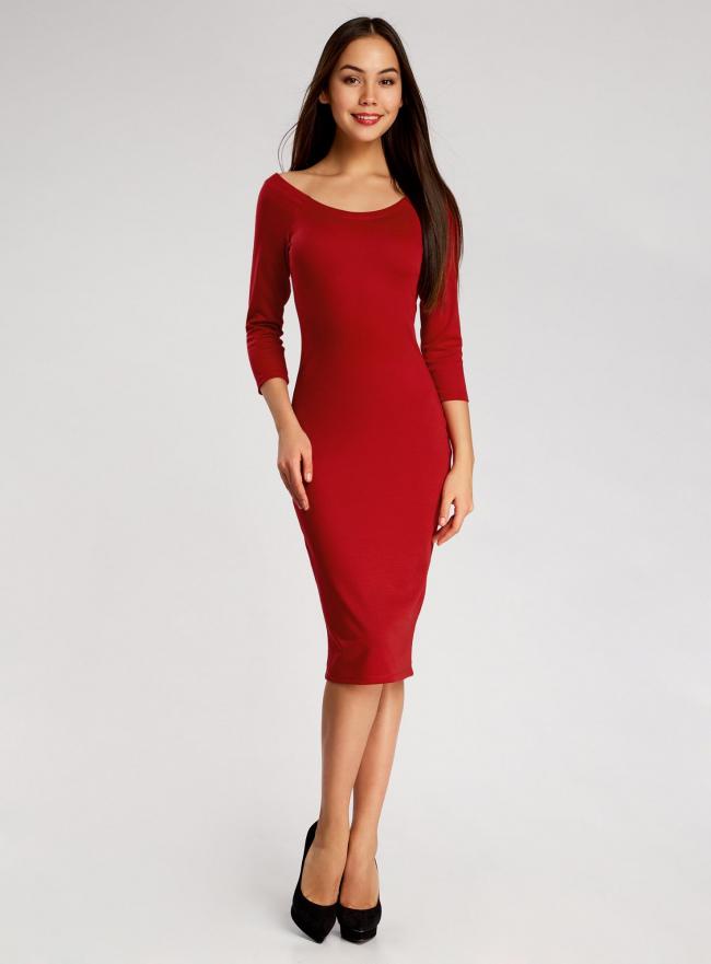 Платье облегающее с вырезом-лодочкой oodji для женщины (красный), 14017001/42376/4500N