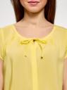 Блузка свободного силуэта с бантом oodji #SECTION_NAME# (желтый), 11411154-1B/24681/5000N - вид 4
