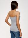 Топ трикотажный на тонких бретелях oodji для женщины (серый), 14305023-1B/46147/2000M