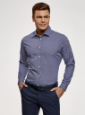 Рубашка приталенная из хлопка oodji для мужчины (синий), 3L110300M/19370N/7910G