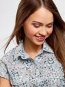 Рубашка из хлопка принтованная oodji #SECTION_NAME# (синий), 11402084-3/12836/7010F - вид 4