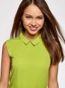 Блузка базовая без рукавов с воротником oodji #SECTION_NAME# (зеленый), 11411084B/43414/6A00N - вид 4