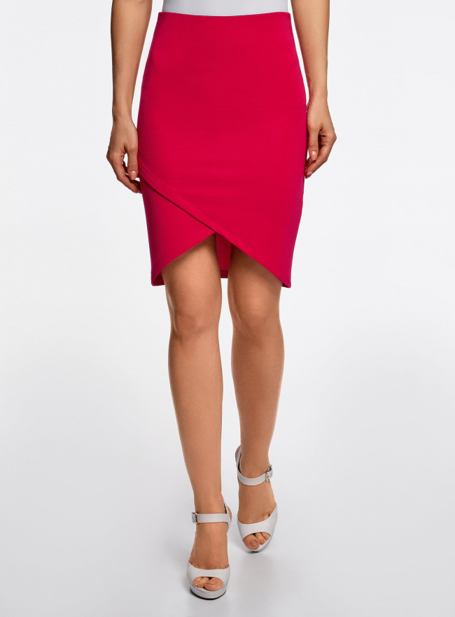 Юбка трикотажная с асимметричным низом oodji для женщины (розовый), 14101081-1B/22132/4700N