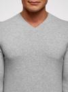 Пуловер базовый с V-образным вырезом oodji #SECTION_NAME# (серый), 4B212007M-1/34390N/2302M - вид 4
