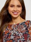 Платье прямого силуэта из струящейся ткани oodji #SECTION_NAME# (коричневый), 11900150-13/13632/3137F - вид 4