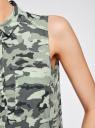 Топ вискозный с нагрудным карманом oodji #SECTION_NAME# (зеленый), 11411108B/26346/6062O - вид 5