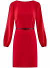 Платье из шифона с ремнем oodji #SECTION_NAME# (красный), 11900150-5B/32823/4500N