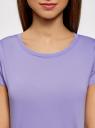 Футболка прямого силуэта с разрезами на рукавах oodji для женщины (фиолетовый), 14701061-1/45475/8000N