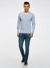 Пуловер с хлопковой вставкой на груди oodji для мужчины (синий), 4B212006M/39245N/7010B - вид 6
