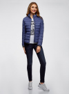 Куртка с трикотажными манжетами и воротником-стойкой oodji #SECTION_NAME# (синий), 10204056/47172/7800N - вид 6
