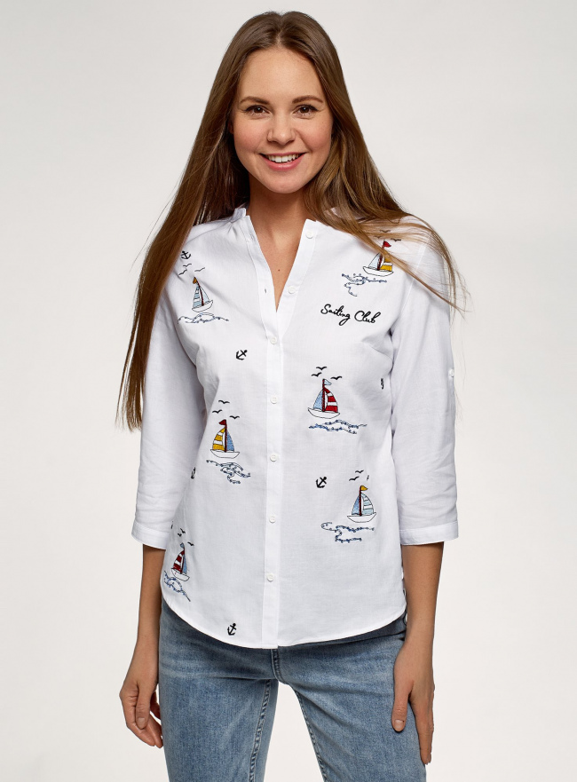 Рубашка хлопковая с вышивкой oodji для женщины (белый), 23L12001-2B/45608/1075P