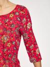 Платье вискозное с рукавом 3/4 oodji #SECTION_NAME# (красный), 11901153-1B/42540/4555F - вид 5