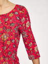 Платье вискозное с рукавом 3/4 oodji для женщины (красный), 11901153-1B/42540/4555F