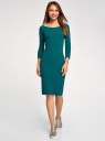 Платье облегающее с вырезом-лодочкой oodji #SECTION_NAME# (зеленый), 14017001-6B/47420/6E00N - вид 2