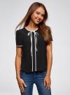 Блузка с коротким рукавом и контрастной отделкой oodji #SECTION_NAME# (черный), 11401254/42405/2900N - вид 2