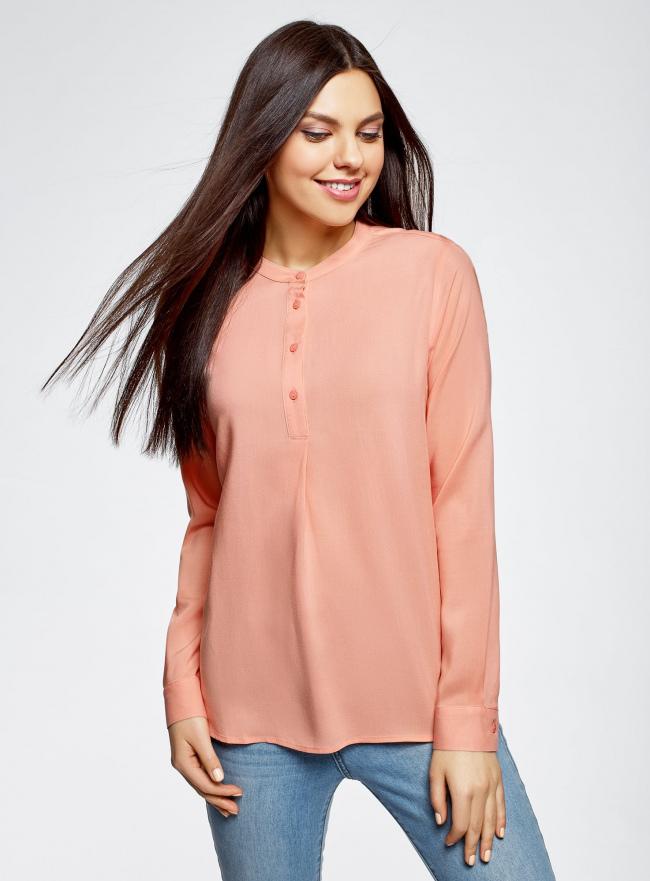 Блузка вискозная А-образного силуэта oodji для женщины (розовый), 21411113B/26346/5401N