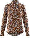 Блузка вискозная с завязками на воротнике oodji #SECTION_NAME# (разноцветный), 11411123/26346/3770F