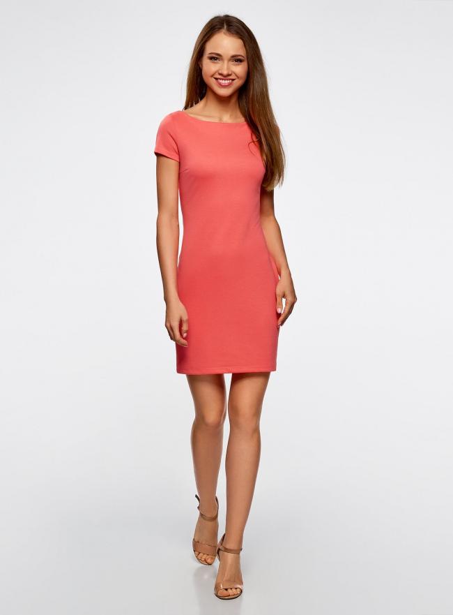 Платье трикотажное с вырезом-лодочкой oodji #SECTION_NAME# (красный), 14001117-2B/16564/4300N