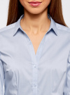 Рубашка приталенная с V-образным вырезом oodji #SECTION_NAME# (синий), 11402092B/42083/7000N - вид 4