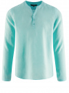 Рубашка льняная без воротника oodji #SECTION_NAME# (бирюзовый), 3B320002M/21155N/7301N