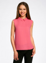 Блузка базовая без рукавов с воротником oodji #SECTION_NAME# (розовый), 11411084B/43414/4D00N - вид 2