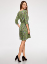 Платье вискозное с рукавом 3/4 oodji #SECTION_NAME# (зеленый), 11901153-1B/42540/6A4CF - вид 3