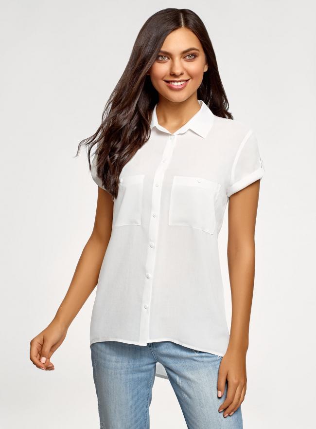 Блузка из вискозы с нагрудными карманами oodji #SECTION_NAME# (белый), 11400391-4B/24681/1200N