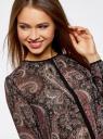 Блузка из струящейся ткани с контрастной отделкой oodji #SECTION_NAME# (черный), 11411059-2/38375/2966E - вид 4