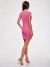 Платье из фактурной ткани с вырезом-лодочкой oodji #SECTION_NAME# (розовый), 14001117-11B/45211/4700N - вид 3