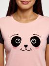 Пижама хлопковая с принтом oodji для женщины (розовый), 56002228/46158/4029P - вид 4