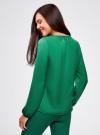 Блузка свободного кроя с вырезом-капелькой oodji #SECTION_NAME# (зеленый), 21400321-2/33116/6E00N - вид 3