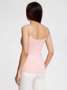 Майка базовая на бретелях oodji для женщины (розовый), 14305023-3B/46866/4000N