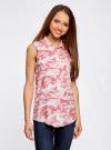 Топ вискозный с нагрудным карманом oodji для женщины (розовый), 11411108B/26346/4041O - вид 2