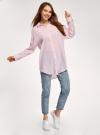 Рубашка удлиненная свободного силуэта oodji #SECTION_NAME# (розовый), 13L11028/49973/5410S - вид 6