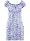 Платье хлопковое со сборками на груди oodji #SECTION_NAME# (синий), 11902047-2B/14885/7530L