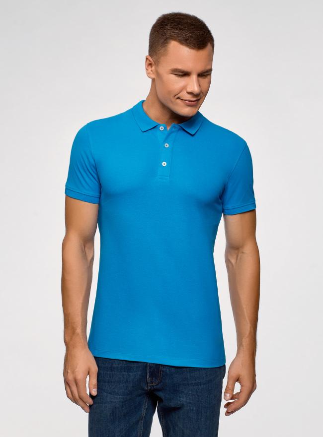 Поло из ткани пике oodji для мужчины (синий), 5B422001M/44032N/7600N