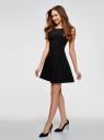 Платье из плотной ткани с овальным вырезом oodji #SECTION_NAME# (черный), 11907004-1/42793/2900N - вид 6