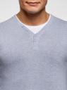 Пуловер с хлопковой вставкой на груди oodji #SECTION_NAME# (синий), 4B212006M/39245N/7001B - вид 4