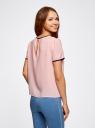 Блузка с коротким рукавом и контрастной отделкой oodji для женщины (розовый), 11401254/42405/4029B