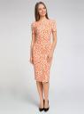 Платье трикотажное с графическим принтом oodji #SECTION_NAME# (оранжевый), 14018001/45396/5912G - вид 2