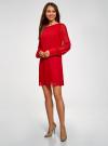 Платье прямого силуэта из струящейся ткани oodji #SECTION_NAME# (красный), 11900150-13/13632/4500N - вид 6